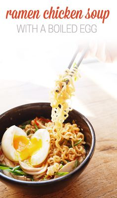 Ramen Chicken Soup with a Boiled Egg