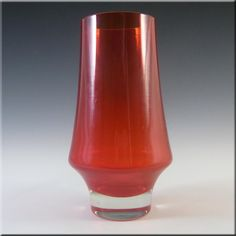 Riihimaki/Riihimaen Lasi Oy Finnish Red Glass Vase #1374 - £30.00