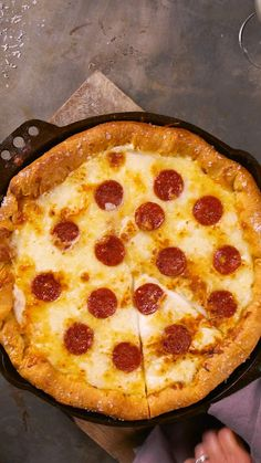 a perfect melty cheese pepperoni deep-dish pizza, nothing beats making it in a Smithey Cast Iron Skillet. Stunning, naturally non-stick, crafted in vintage style, and 100 made in the USA. Get your Smithey today and it will last a lifetime and then some. Pizza Recipes, Dinner Recipes, Cooking Recipes, Healthy Recipes, Jello Recipes, Vegetarian Recipes, Healthy Pizza, Cooking Food, Easy Cooking