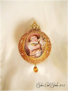 Victorian Medallion WireWrapped Christmas by SilverOwlStudio, $75.00