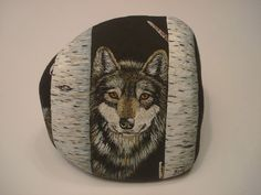 Wolf+and+Birch+Trees+hand+painted+on+a+rock+by+Ann+Kelly+#Realism