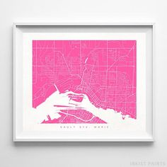Sault Ste. Marie, Canada Street Map Wall Art Poster - 70 Color Options - Prices from $9.95 - Click Photo for Details - #streetmap #map #homedecor #wallart #SaultSteMarie #Canada