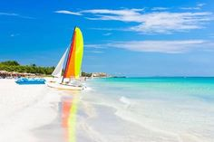 Photographic Print: Scene with Sailing Boat at the Famous Varadero Beach , Caribbean Sea in Cuba by Kamira : 24x16in