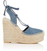 """Saint Laurent Women's """"Espadrille"""" Platform Wedge Sandals-Blue"""