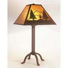 """Steel Partners Timber Ridge 31"""" Table Lamp Finish: Architectural Bronze, Shade: Amber Mica"""