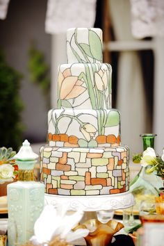 stained glass art nouveau wedding cake