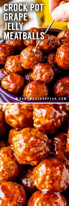 Five Approaches To Economize Transforming Your Kitchen Area Crock Pot Grape Jelly Meatballs Tender Meatballs Slow Cooked In A Sweet Sauce Made With Grape Jelly And Chili Sauce. Makes For A Fun Changeup Of Traditional Cocktail Meatballs For Parties Sweet Meatballs, Crock Pot Meatballs, Party Meatballs, Cocktail Meatballs Crockpot, Recipe For Crockpot Meatballs, Meatballs With Sauce, Cocktail Meatball Sauce Recipe, Gluten Free Vegan, Clean Eating Snacks