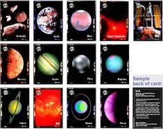"""Solar System trading cards (13) depicts solar system objects (planets, comets, asteroids and the Sun) with the front of each card displaying an image of the object, the back provides the diameter, distance from the Sun, and/or other interesting facts.  An """"older kid"""" version and a """"younger kid"""" version plus an online activity game page.  In pdf, from Homeschool Freebie of the Day"""