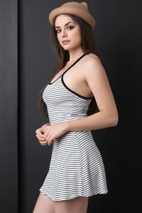 Striped Y-Strap Back Mini Dress - Avenue of Angels Sexy Dresses, Beautiful Dresses, Short Dresses, Fashion Dresses, Trendy Outfits, Cool Outfits, Dress Skirt, Bodycon Dress, Pretty Females