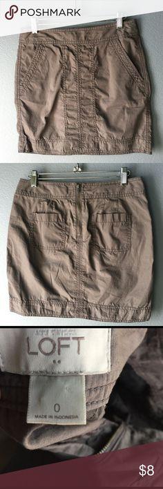 "Ann Taylor Loft Khaki mini skirt Front pocket, back pockets and back zipper. 16 1/2"" length. Grey Khaki color LOFT Skirts Mini"