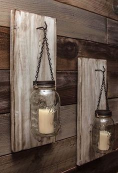 Reclaimed Wood Mason Jar Sconce.