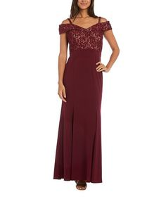 Love this Merlot & Nude Lace-Accent Cutout Gown on #zulily! #zulilyfinds