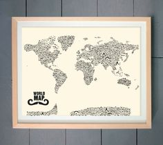 Moustache World Map (made with various Moustache)  ART PRINT 16x20 inches (41 X 51 cm) (Three editions available - You pick). $20.00, via Etsy.