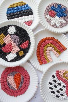 Easy Quarantine Crafts: Bean Mosaic Art for Kids Fun Crafts For Kids, Projects For Kids, Diy For Kids, Easy Crafts, Activities For Kids, Craft Projects, Arts And Crafts, Therapy Activities, Mosaics For Kids