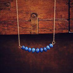Lapis Lazuli Bar Necklace by Saressa Designs on PRESERVE