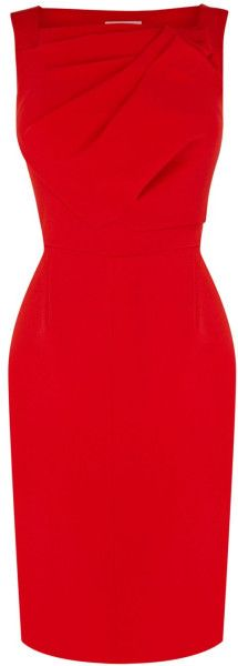 Karen Millen Minimal Shift Dress in Red - Lyst