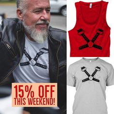 Show off your leather side! This Weekend - 15% OFF any leather harness #tshirt or #tank by going to this link http://ift.tt/2qnytu5 #leather #gay #bear #beard #beardlife #digitalart #picoftheday #instagood #instalike #photooftheday #leatherjacket #leathergoods #clothes #sale #swag #bar #codebar