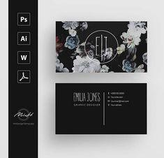 20% SALE OFF Black Floral business card template / creative /