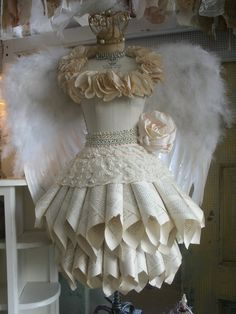 Angel wings on dress form
