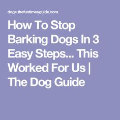 How To Stop Barking Dogs In 3 Easy Steps... This Worked For Us | The Dog Guide