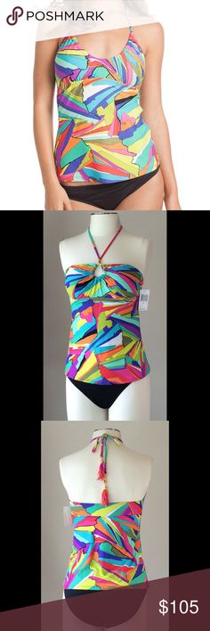 Darling Trina Turk tankini swim set, NWT Love this adorable suit! Trina Turk has the best prints and soft, luxurious swim fabrics. The top is designed to be worn a few different ways. The solid black bottom will pair with other tops as well. New with tag! Retails for $88 top and $52 bottoms. Size 6. Non smoking home. Trina Turk Swim
