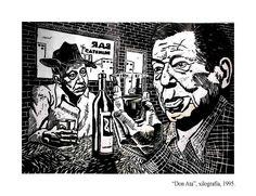 Atahualpa Yupanqui-xilografía por Sergio Ardohain,1995