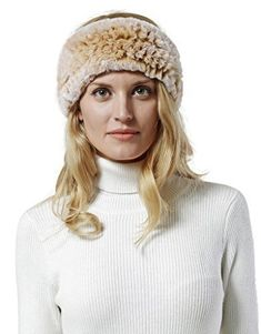 Nice Glory Women s Rex Rabbit Fur Knit Headband   Neck Warmer – Caps   Hats  for Everyone 794ddef897b6