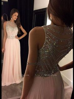 A Line Scoop Tulle Chiffon Beadings Sequins Long Pink Prom Dress