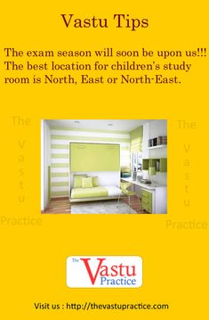 The exam season will soon be upon us! The best location for children's study room is North, East or North-East. A student should face East while studying and have his /her head in the East while sle Kitchen Vastu, Indian House Plans, Feng Shui Bedroom, Interior Decorating Tips, Vastu Shastra, Feng Shui Tips, Study Rooms, Indian Homes, Pooja Rooms