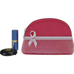 """Cosmetic Bag - Pink ribbon cosmetic bag to promote """"Breast Cancer Awareness""""."""