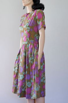 50's Floral #Cotton #Dress #vintage