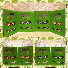 I can do this at home! Mount the faces and logo on green .99 store bags. Great idea!    Teenage Mutant Ninja Turtle Inspired Goody Bags - Large. $24.00, via Etsy.