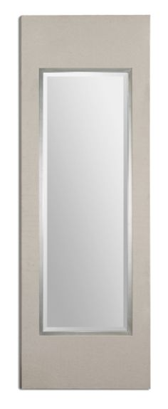 Beige Linen Mirror with Silver Leaf Inner Liner  Click here to purchase: http://www.houzz.com/photos/17718626/Beige-Linen-Mirror-with-Silver-Leaf-Inner-Liner-transitional-mirrors