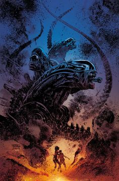 Dark Horse Comics have unveiled a new four-issue mini comic series set in the Alien universe! Aliens: Dust to Dust will be written and illustrated by Gabriel Hardman a. Science Fiction, Fiction Movies, Predator Alien, Aliens Movie, Horror Comics, Horror Posters, Horror Books, Alien Art, The Dark Knight Rises