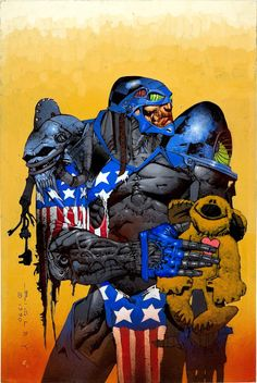 Original cover painting by Simon Bisley from Maximum Force #1, published by Atomeka Press, 2002 (though the painting is dated 1990).