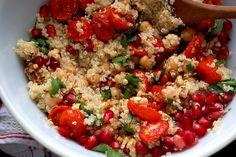 Bulgur, pomegranate, walnut salad