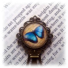 Blue Butterfly Bookmark by ElysianWorkshop on Etsy