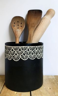 Black Hand Carved Ceramic Container Scalloped by Seramiks on Etsy
