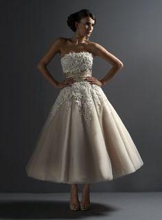 strapless short ball gown tea length wedding dress