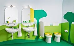 Modern Green Paint Color in Kids Bathroom with Double Sink Design Ideas