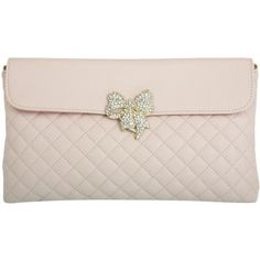 Miss Selfridge Bow Detail Nude Quilted Clutch ($32) ❤ liked on Polyvore
