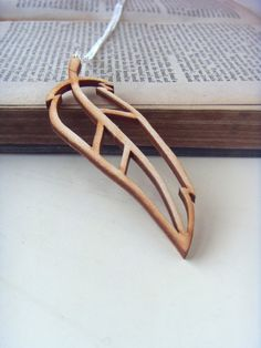 Wooden pendant necklace  lasercut birch plywood