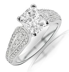 0.95 Carat Radiant Cut / Shape 14K White Gold Modern Pave And Channel Set Round Diamond Engagement Ring ( D-E Color , SI1 Clarity ) | Your #...