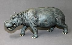 INCREDIBLE HIPPOPOTAMUS BRONZE HIPPO ART SCULPTURE FIGURINE by Barry Stein  16 inches long-wow!   asking $1490 and free shipping  **want**