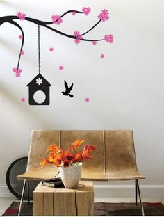 Cherry Blossom Branch with Birdcage Vinyl Wall Art Decal  wd187. $29.99, via Etsy.