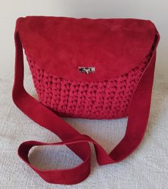 Red handbags for women, Red suede bag, Red handbag, Red suede ...