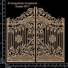 Ornate Gate -two pieces -cut from chipboard -size as shown in photo Grill Gate Design, Steel Gate Design, Front Gate Design, House Gate Design, Railing Design, Door Design, Metal Gates, Wrought Iron Gates, Wrought Iron Decor