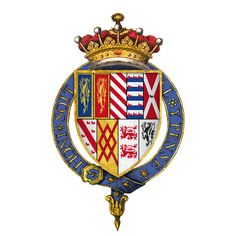 Arms of Sir Francis Talbot, 5th Earl of Shrewsbury...  1500 – 25 September 1560 was the son of George Talbot and Anne Hastings.  His maternal grandparents were William Hastings and Katherine Neville daughter of Richard Neville and Alice Neville  Though a Roman Catholic, he retained the royal favor during the reign of Henry VIII, and received some lands from the dissolution of the monasteries, including those belonging to Worksop Priory.he was a powerful figure in the North