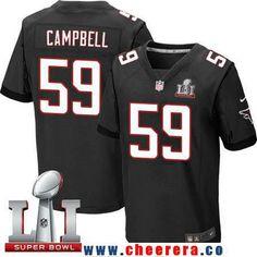 Men's Atlanta Falcons #59 De'Vondre Campbell Black Alternate 2017 Super Bowl LI Patch Stitched NFL Nike Elite Jersey