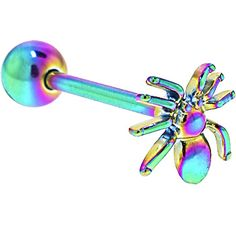 Rainbow Titanium Anodized 3-D SPIDER Barbell Tongue Ring #piercing #tongue #bodycandy #beauty #halloween #spider